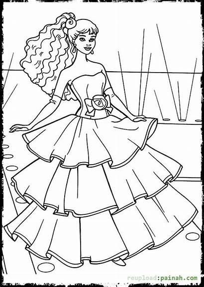 Coloring Pages Dresses Barbie Drawing Printable Drawings