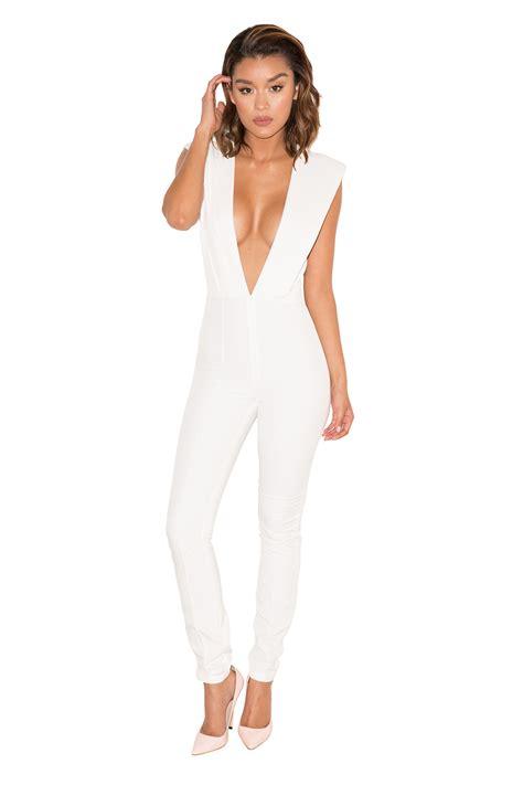 plunge jumpsuit clothing jumpsuits 39 basia 39 white plunge jumpsuit