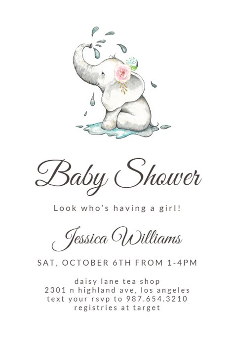 elegant elephant baby shower invitation template