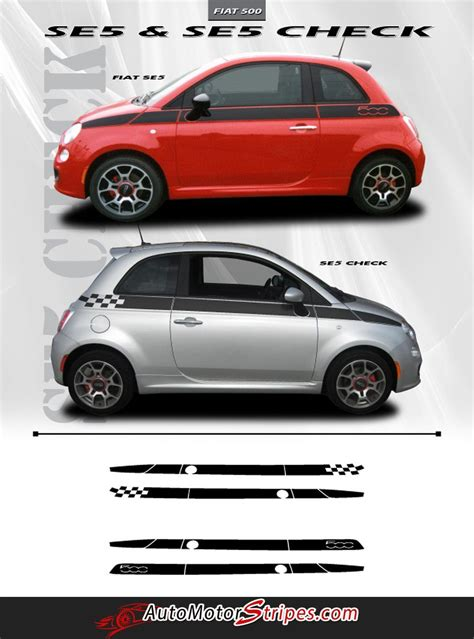 Fiat 500 Graphics by 2007 2016 Fiat 500 Se5 Check Side Door 3m Accent Stripes