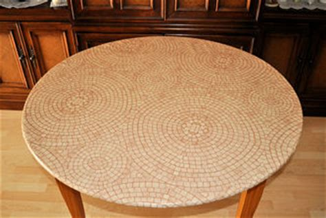 Fitted Round Outdoor Tablecloth With Umbrella Hole by Terracotta Mosaic 48 Round Fitted Tablecloth