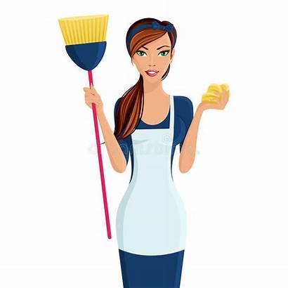 Woman Young Cleaner Vector Cleaning Lady Standing