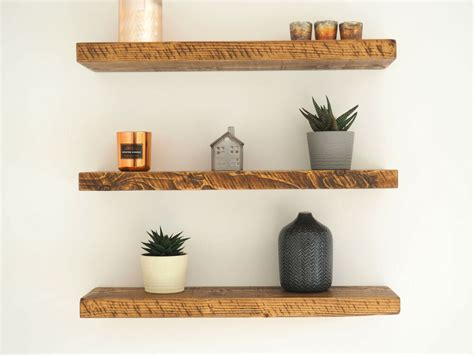 rustic pine shelves chunky floating shelf timber uk