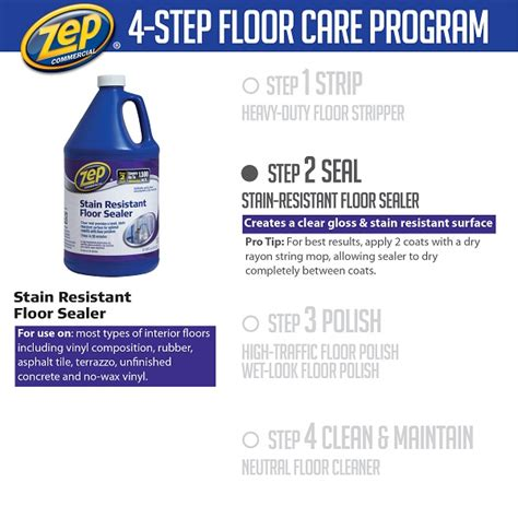 Applying Zep Floor Sealer by Zep 128 Oz Stain Resistant Floor Sealer Of 4