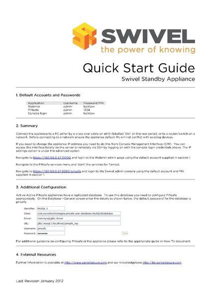 Filequick Start Standbypdf  Swivel Knowledgebase
