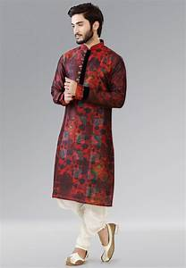 Printed Dupion Silk Dhoti Kurta in Red : MTY21