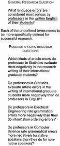Sample General And Specific Research Questions