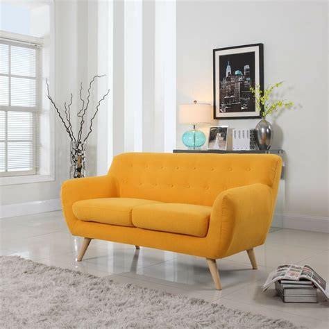 contemporary sofas and loveseats mid century yellow loveseat tufted buttons modern linen
