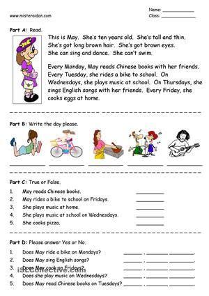 days   week simple reading comprehension