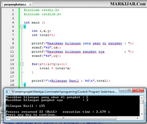 contoh program sederhana  bahasa  memangkatkan sebuah bilangan markijarcom