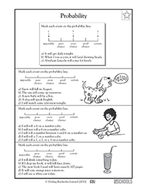Common Core Probability Worksheets 7th Grade  5th Grade Probability Worksheets