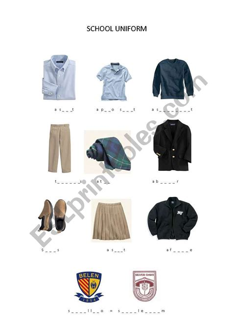 english worksheets school uniform