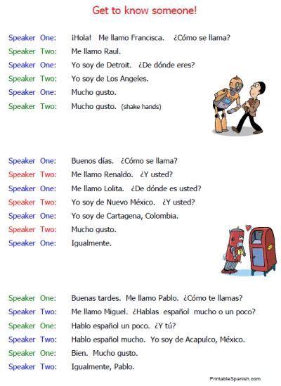 printable spanish beginning conversations introductions
