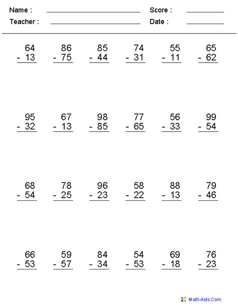 digits vertical subtraction with regrouping subtraction worksheets dynamically created subtraction