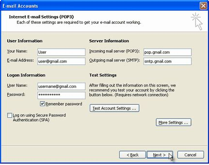 Office 365 Outlook Gmail Settings by Configuring Gmail In Outlook Express Using Pop3 Server