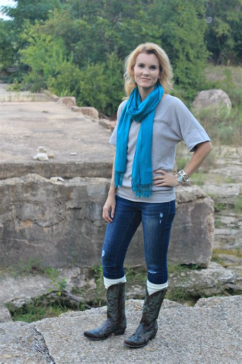 Fall Outfit Idea Cowboy Boots u0026 Boot Socks | Mom Fabulous