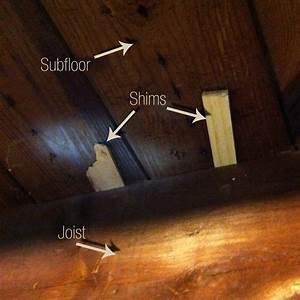 How to shim a floor joist thefloorsco for Squeaky bathroom floor