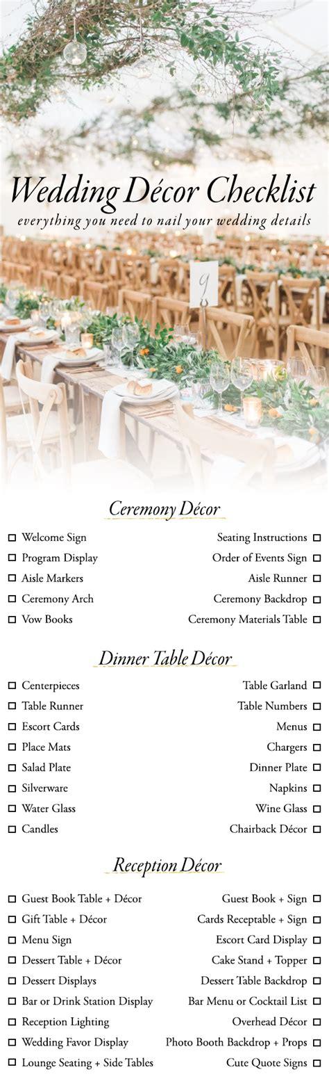 wedding decor checklist    nail