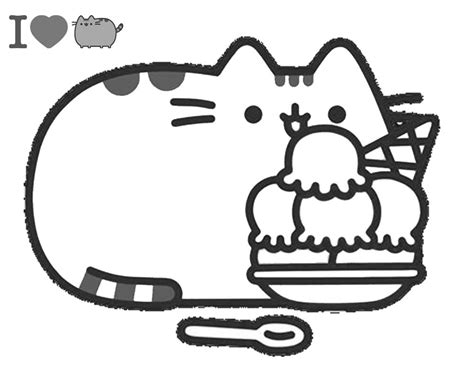 Pusheen With Ice Cream Coloring Page