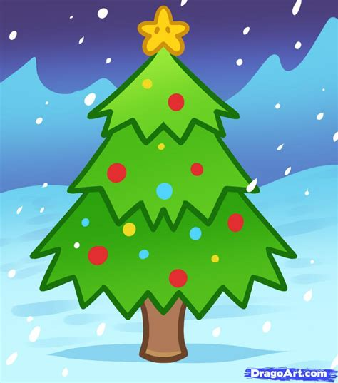learn how to draw a christmas tree for kids christmas