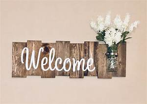 Rustic Welcome Sign with Mason Jar – Knot and Nest Designs