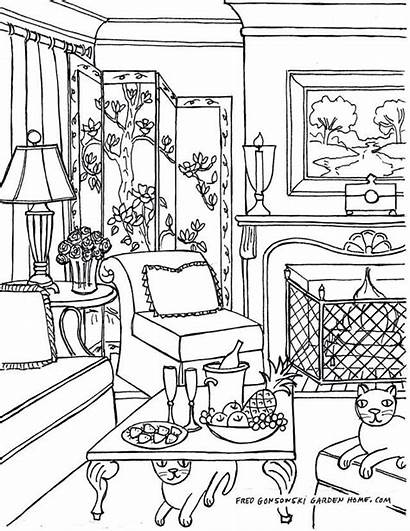 Coloring Pages Living Inside Drawing Interior Adult