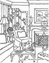 Coloring Pages Living Inside Interior Adult Drawing Rooms Adults Colouring Printable Victorian Barbie Perspective Drawings Para Houses Landscapes Books Interiors sketch template