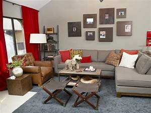 Red and gray tuscan inspired living room hgtv for Gray and red living room ideas