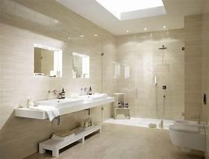 salle de bain travertin le chic noble de la pierre With salle de bain blanche et beige