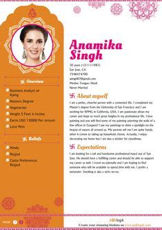matrimony profile description images bio data