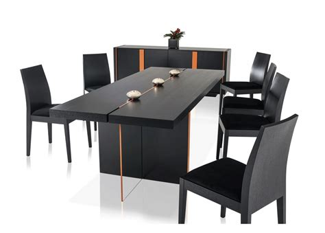 modern black table l modern black oak floating dining table vg67 modern dining