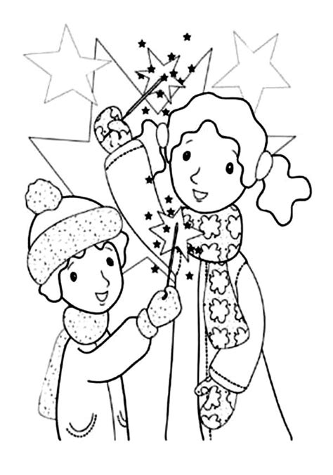 kids play  sparklers  fireworks coloring page  print  coloring pages