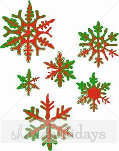 Six Fancy Red and Green Snowflakes | Snowflake Clipart