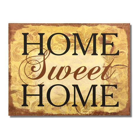 """Adeco Decorative Wood Wall Hanging Sign Plaque """"home Sweet"""