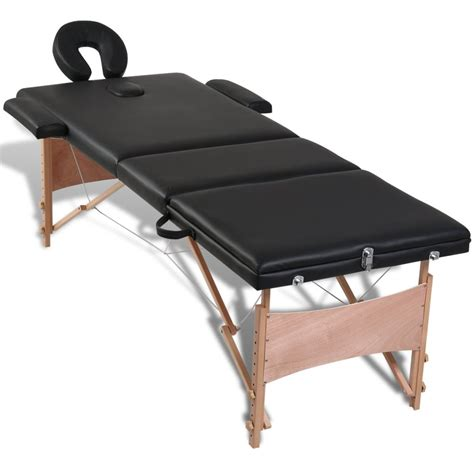 acheter table de pliante 3 zones noir cadre en bois pas cher vidaxl fr
