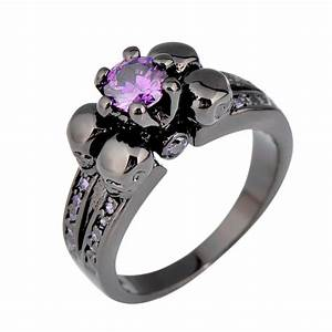 Purple amethyst skull jewelry women men ring anel aneis for Womens skull wedding rings