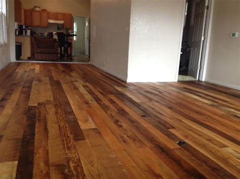 mixed wood floors reclaimed mix species hardwood floor rustic living room kansas city by totta hardwoods