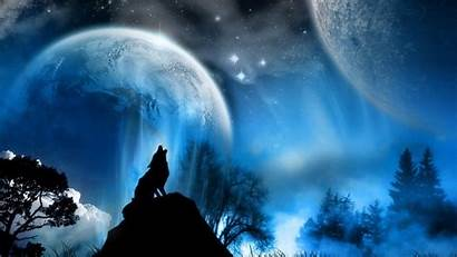 Wolf Moon Howling Dark Drawn