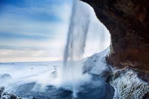 Seljalandsfoss Waterfall Iceland Winter