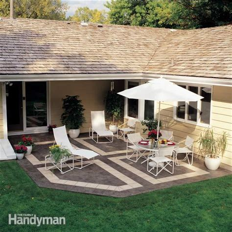 patio building patio tiles how to build a patio with ceramic tile family handyman