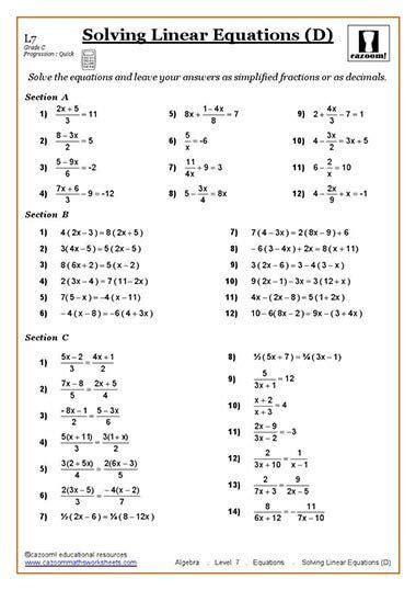 solving equations maths worksheet school helpers