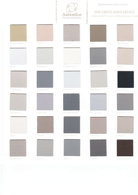 autentico paint the greys and earths my personal favourite from this color chart is