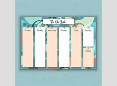 Weekly planner with a retro design Vector Free Download
