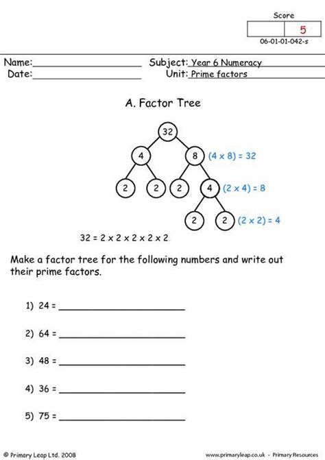 printable math worksheets prime factorization