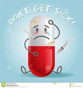 Sick And Pain Cartoon On Capsule Stock Vector - Image ...