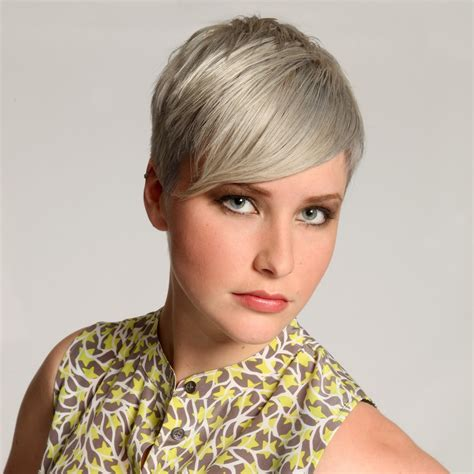 daring short haircut  super short sides  silver hair