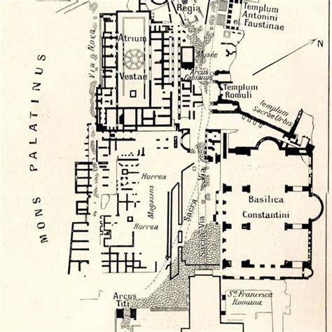 ancient rome map  floor plans roman forum