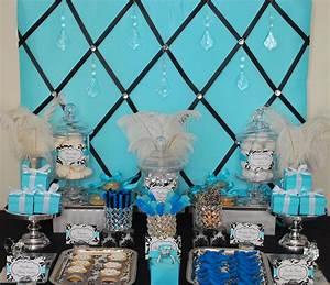 Fête Fanatic: Tiffany Blue Black & Bling Sweets Display!