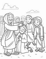 Heals Jesus Coloring Children Leper Sick Bible Board Story Ministry Christ Bulletin Church Son Lepers Many sketch template