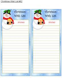 Printable Christmas Wish List Template